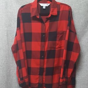 Old Navy Buffalo Red Plaid Flannel Shirt Sz 16